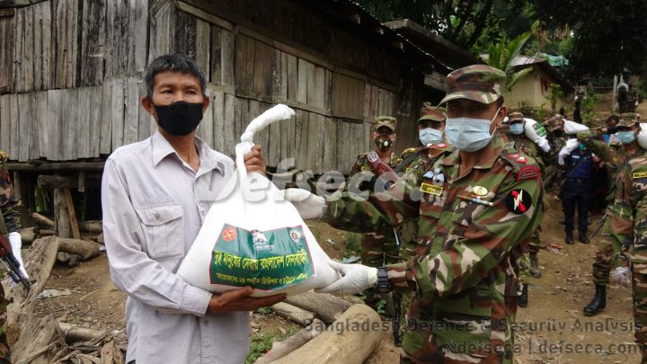 Members of Army distribute relief from their ration in Rangamati